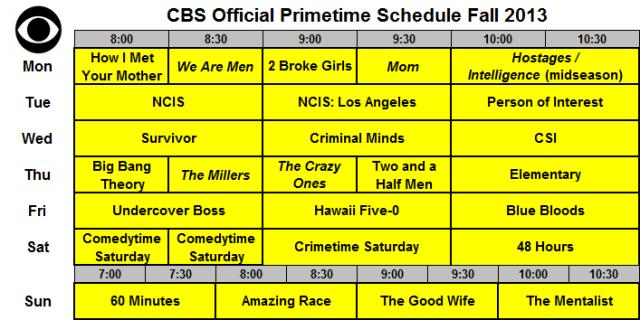 CBS Official Schedule Fall 2013