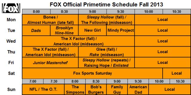 FOX Official Schedule Fall 2013