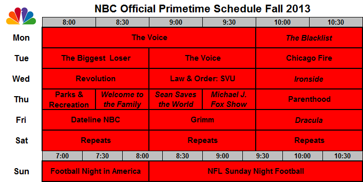 The Sked 2013 Upfronts Grids Of All 5 Network Schedules Showbuzz Daily