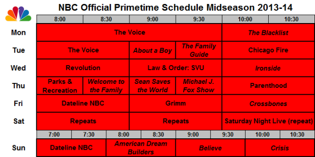 NBC Official Schedule Midseason 2013-14