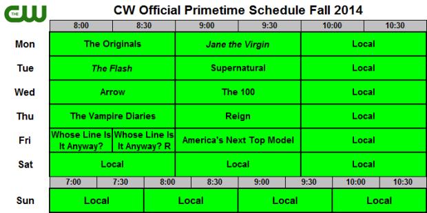 CW Fall Schedule 2014