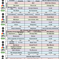 Fall 2016 SBD Broadcast Prime Schedule with NBC FOX ABC CBS CW