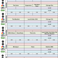 Network Schedule Fall 2017 NBC