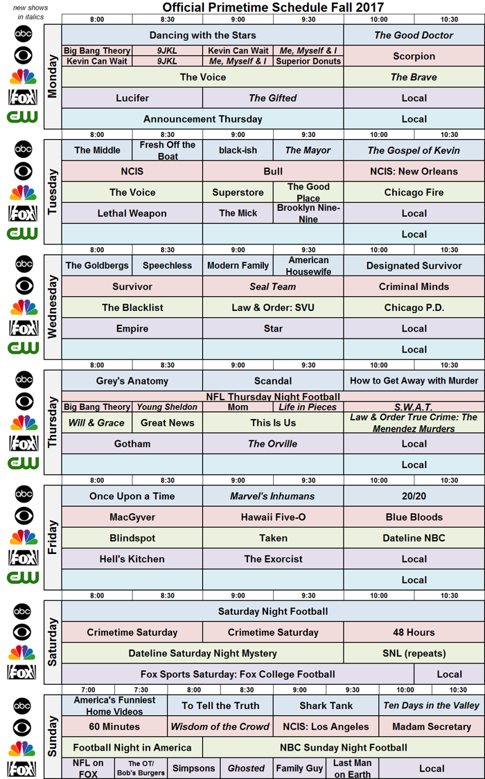 Network Schedule Fall 2017 NBC FOX ABC CBS