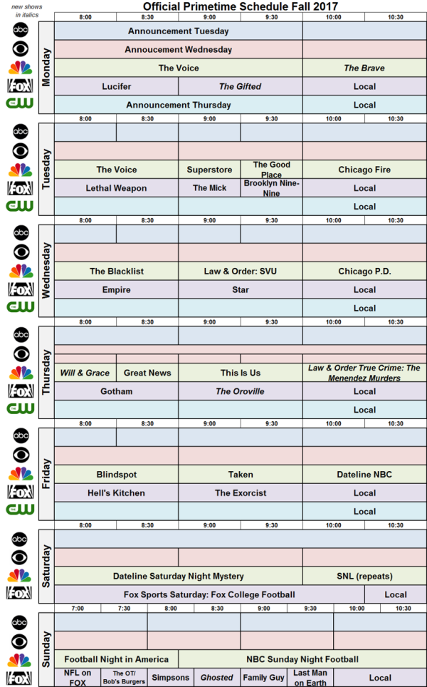 Network Schedule Fall 2017 NBC FOX