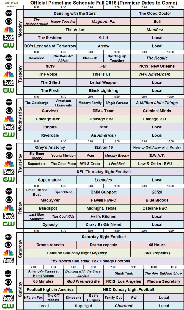 Fall 2018 Broadcast Primetime Schedule NBC FOX ABC CBS CW