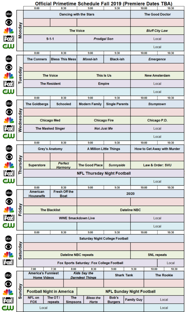 Abc 2019 Schedule NIELSENWAR: The Fall 2019 ABC Schedule & Analysis | Showbuzz Daily